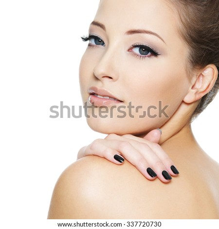 Young sexy girl with black nails and eye make-up