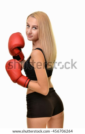 Young sexy girl with boxing gloves