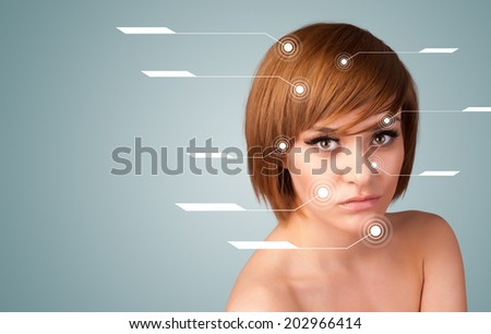 Young sexy girl with facial treatment modern arrows on gradient background - stock photo