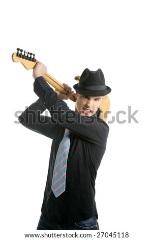 young sexy male guitar player, tie and black hat, isolated on white