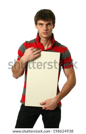 Young sexy man holding copy space blank board isolated on white - stock photo
