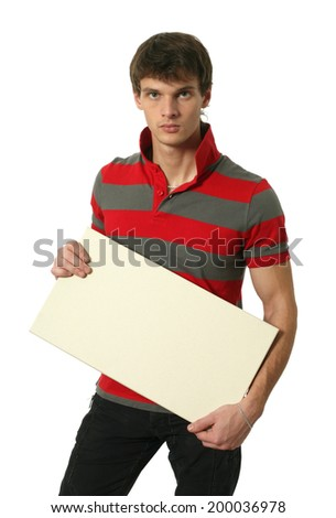 Young sexy man holding copy space blank sign isolated on white - stock photo