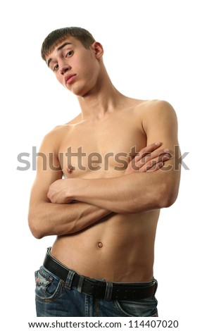 Young sexy man isolated on white