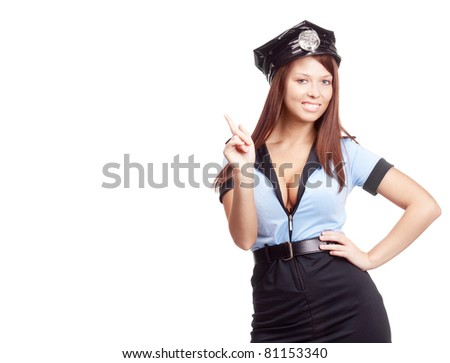 young sexy policewoman, pointing up, isolated against white background, a lot of copy space for your text to the left