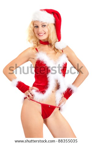 Young sexy Santa helper woman isolated a on white background