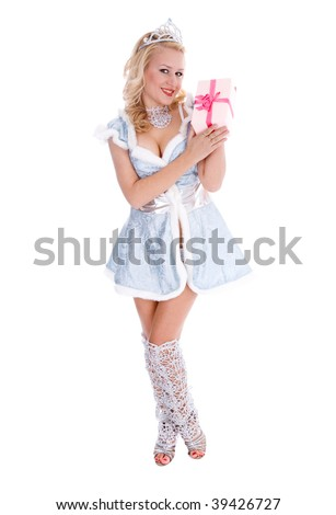 Young sexy Santa isolated on the white