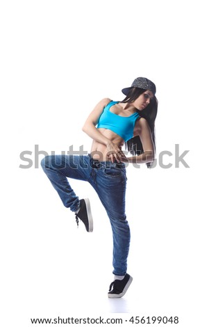 Young sexy woman dancer dancing on white background