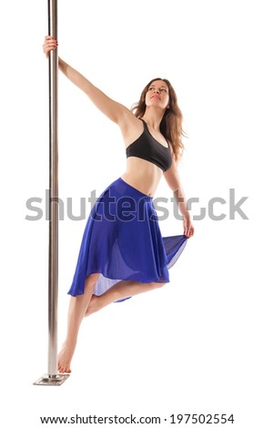 Young sexy woman exercise pole dance against white background - stock photo