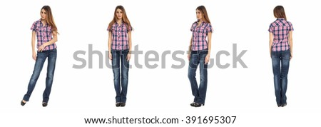 Young sexy woman in  jeans isolated on white