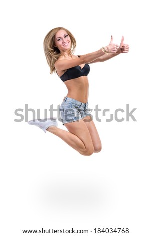 Young sexy woman in jeans shorts , isolated on white background in full length.