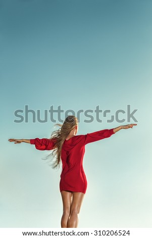 Young sexy woman in red mini dress posing in front of sea - stock photo