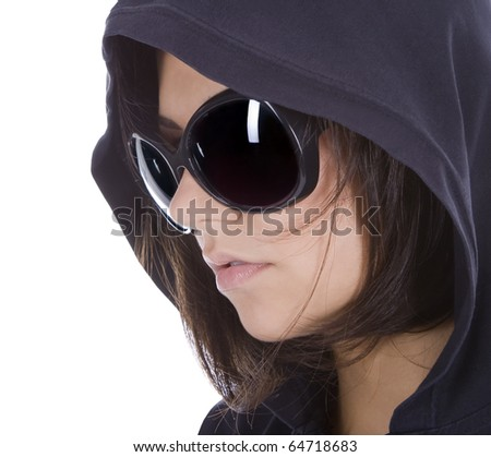 Young sexy woman in sunglasses with hood. - stock photo