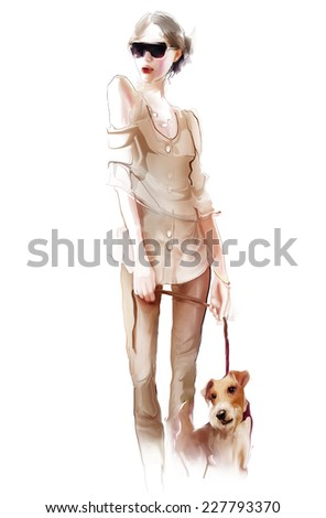 Young sexy woman with dog  - stock photo