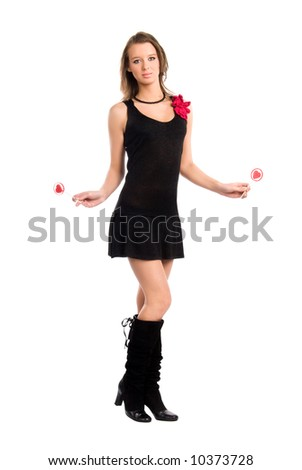 Young sexy woman with two lollipops. Isolated on white. - stock photo