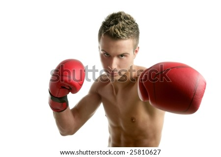 Young  shaped man boxing, isolated studio shot - stock photo