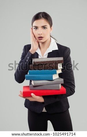 Young Shocked Girl Student with Book