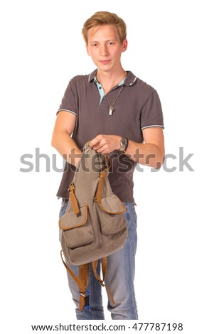 Young shocked student opening his backpack. Isolated on white background