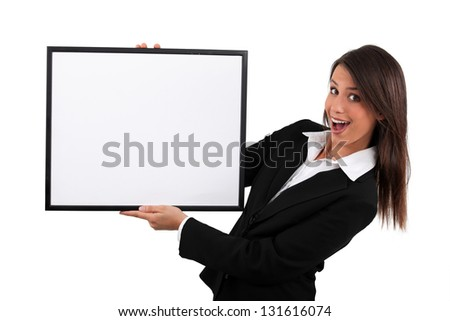 Young showing white frame - stock photo