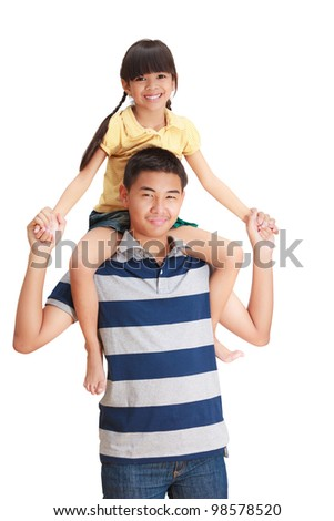 Young sister hold on her big brother's back, Isolated on white