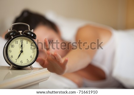 Portrait Beautiful Young Woman Sleeping Bed Stock Photo 225635005