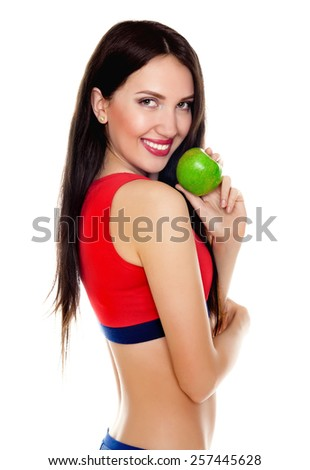 young slender girl with apple - stock photo