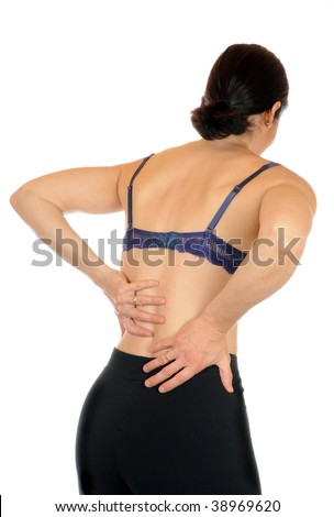 Young slim female has backache