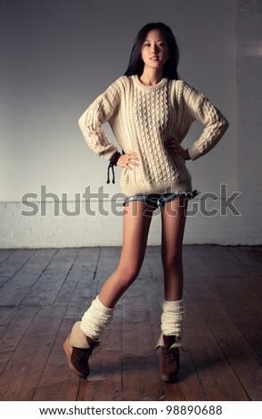 Young slim japanese woman fashion. - stock photo