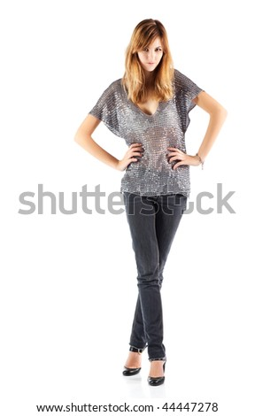 Young slim woman. Isolated on white.