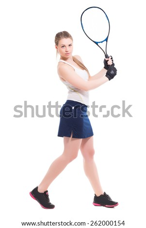 Young slim woman posing with tennis racket. Isolated on white - stock photo