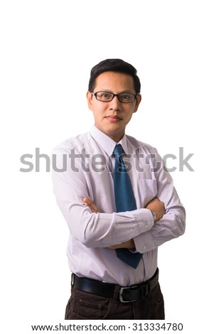 Young Smart asian man looking confident in business attire - stock photo