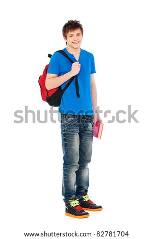 young smiley student holding bag and book. isolated on white background - stock photo
