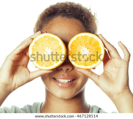 young smiling afro american woman with half oranges, lifestyle concept isolated on white background