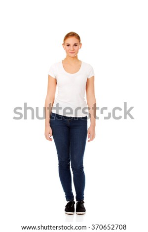 Young smiling blonde woman in white t-shirt - stock photo