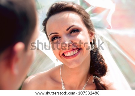 Young Smiling bride groom close-up - stock photo