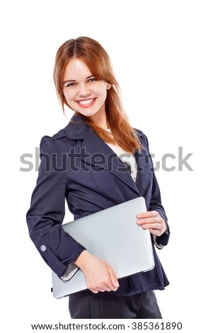 Young smiling business lady with a laptop. Isolated on white background. - stock photo