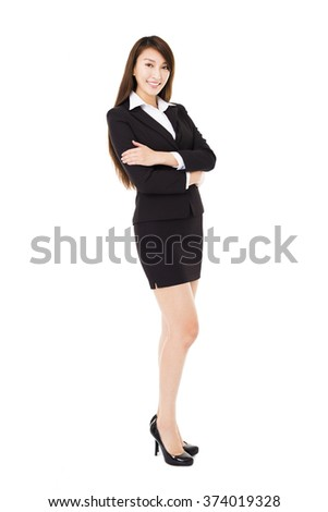 young smiling business woman isolated on white - stock photo