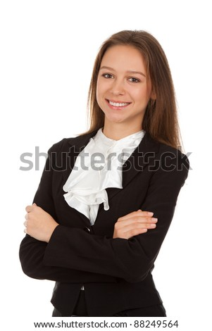 Young smiling business woman standing with folded hands. Isolated over white background