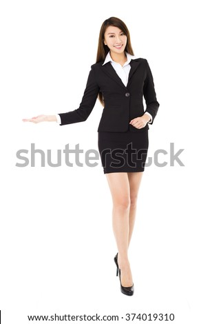 young smiling business woman with showing gesture - stock photo