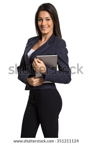 Young smiling business woman with tablet computer. Isolated on white background.