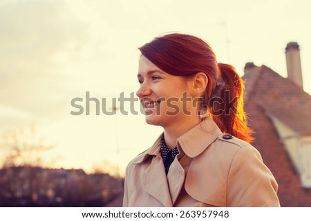 Young smiling businesswoman sitting in a classic city park,student professional outdoors  .Businesswoman smiling,Life style, - stock photo