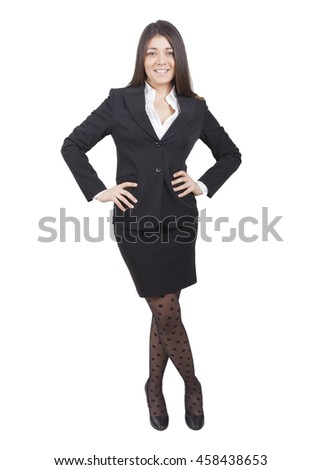young smiling businesswoman with dark tailleur standing