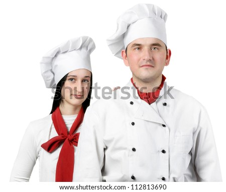 Young smiling chef man and  woman.Isolated on white