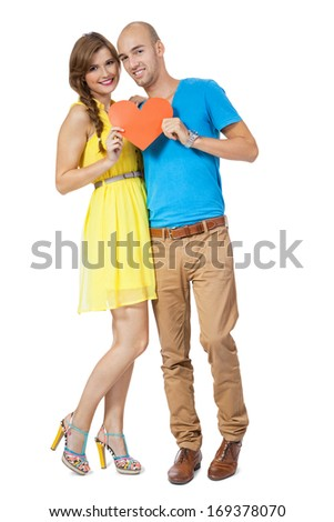 young smiling couple in love portrait isolated on white