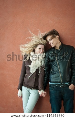 Young smiling couple portrait - stock photo