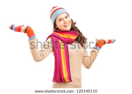 Young smiling female gesturing with her arms isolated on white background - stock photo