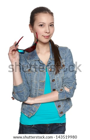 Young smiling female with 3d glasses - stock photo