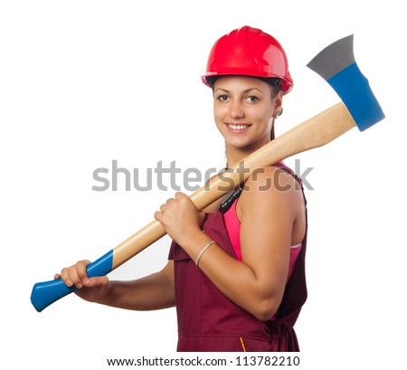 Young smiling female woodcutter with hard hat holding huge ax isolated on white. - stock photo
