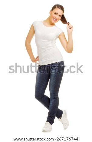 Young smiling girl isolated on white - stock photo