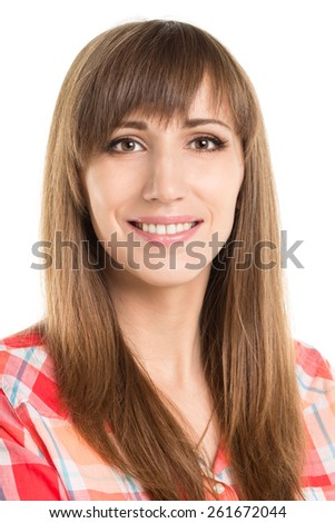 Young smiling girl looking into camera. Beautiful caucasian woman isolated on white background - stock photo