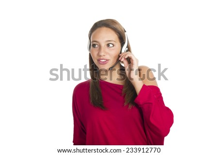young smiling girl talks by mobile phone - stock photo